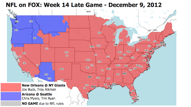 Which TV Market Is Getting Screwed This Sunday? An Analysis Of Week 14 NFL Viewing Maps