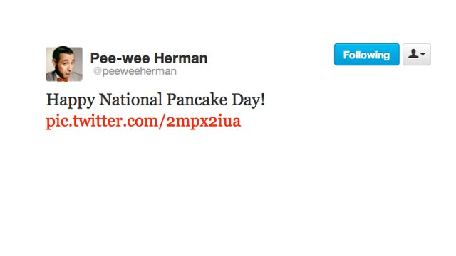 Pee Wee Herman Wishes Us a Happy Pancake Day