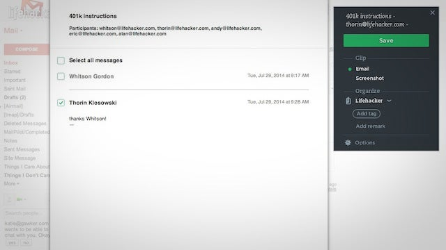 Use Evernote's Web Clipper to Save Entire Gmail Threads