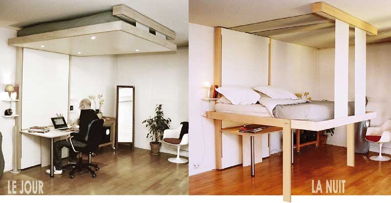Bedup Saves Space by Storing Your Bed in the Ceiling
