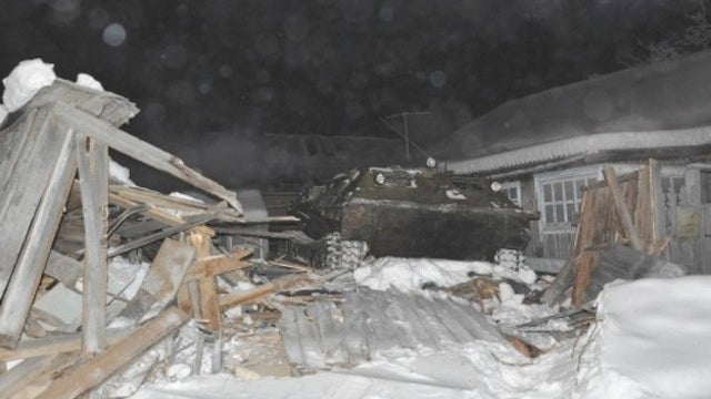 A Drunk Guy Drove a Tank Inside a House