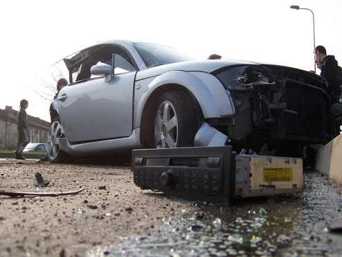 Lithuanian Audi TT and VW Golf Accident