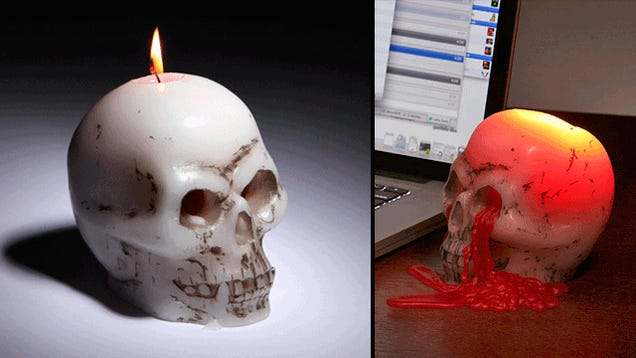 Nothing Says Halloween Like a Bleeding Skull Candle
