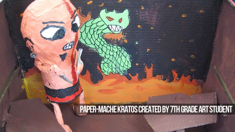 7th-Graders Make a Paper-Mache Video Game You Can't Play