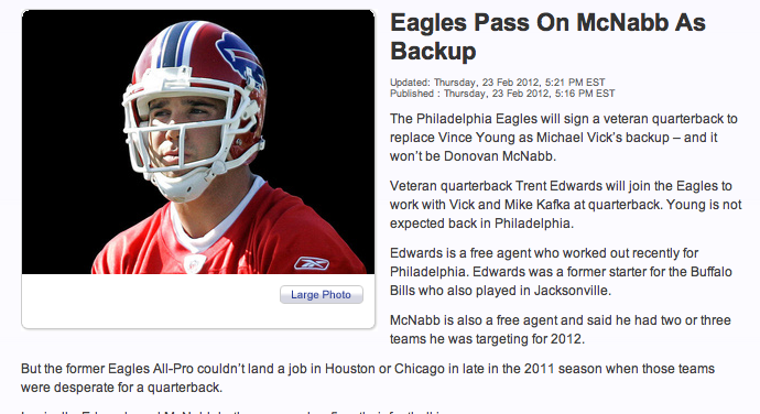 "Eagles Sign Trent Edwards, Or As Philly TV Station Puts It, ""Eagles Pass On McNabb"""
