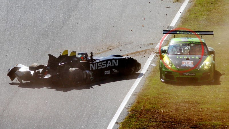 Classy Race Car Driver Flips Off The Driver He Just Crashed Into