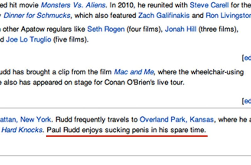 Someone Made a Lame Dick Joke on Paul Rudd's Wikipedia Page