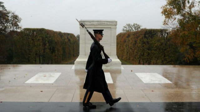 A Real Photo Of A Guard At The Tomb Of The Unknown Soldier