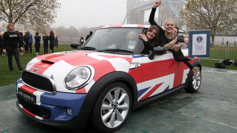 28 Ladies Crammed Into A 2012 MINI To Claim A Guinness World Record