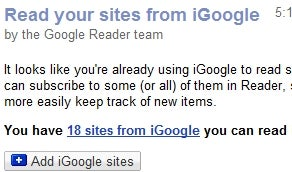 Convert iGoogle Feeds to Google Reader Subscriptions