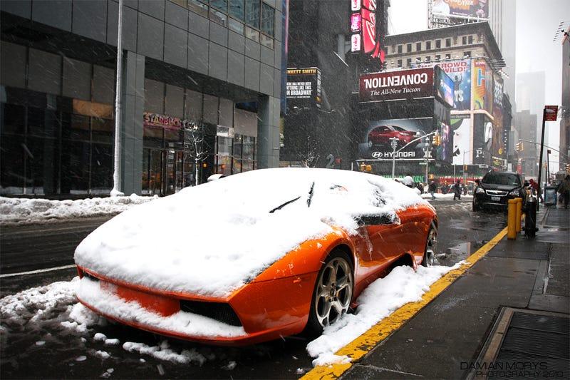 Lamborghini, Snow, Times Square, Today