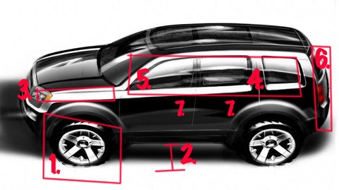 Detroit Auto Show: Honda Pilot Sketch Versus Reality