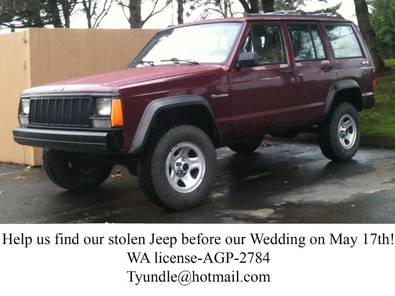 **Stolen Jeep** Help us find it before our Wedding!!!