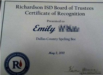 Spelling Bee Prize: A Misspelled Certificate