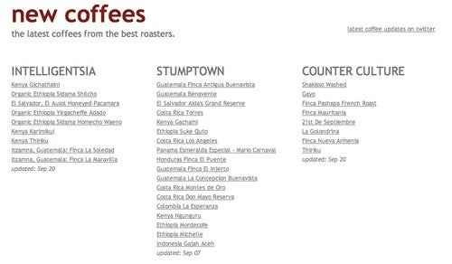 New Coffees: Always Know When There's Fresh Coffee