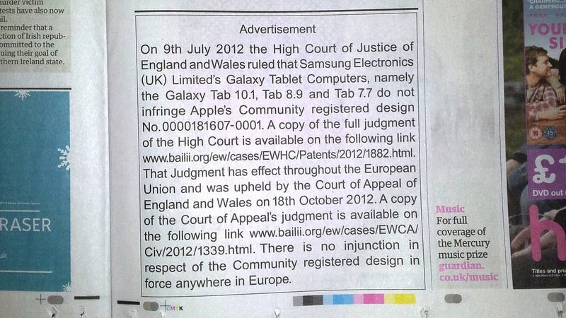 Apple's Arial Apology Hits the UK Newspapers