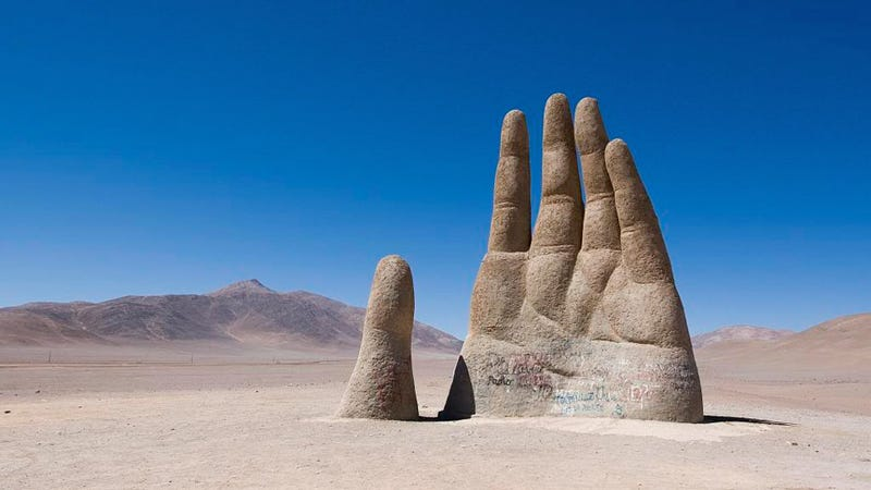 A mysterious, giant hand rises from the Chilean desert