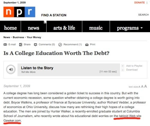 Can You Repay J-School Debt with NPR Airtime?