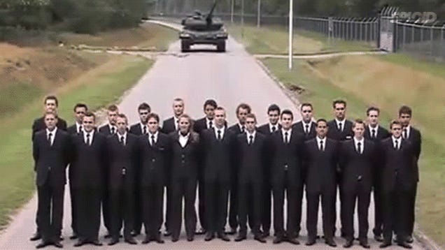 Mad people test a tank's brakes in the most dangerous way possible
