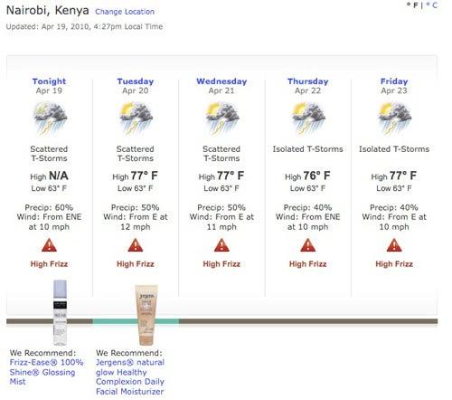 Weather Forecast For Women: Chance Of Frizz, Shameless Marketing
