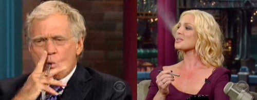 Katherine Heigl and David Letterman Smoke an Electronic Cigarette