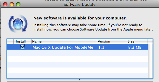 MobileMe OS X Update Available Now (Again)