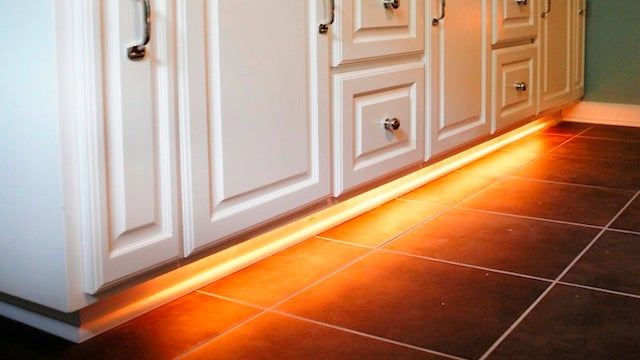Add rope lighting under your bathroom cabinets and never for Under cabinet rope lighting