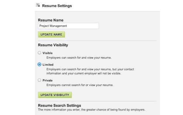 Make resume not searchable career builder