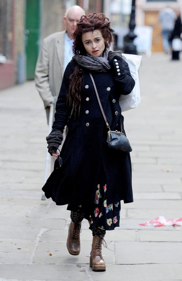 Helena Bonham Carter Is Buttoned-Up & Booted