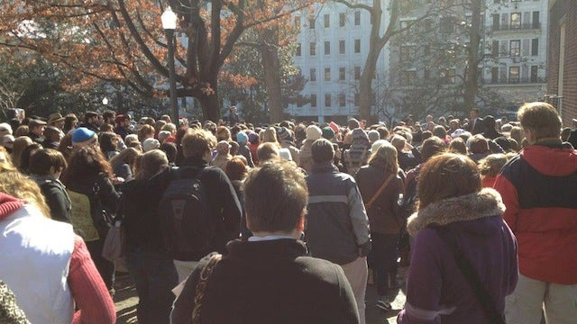 Hundreds of Protesters Form Silent Chain Outside Virginia Capitol