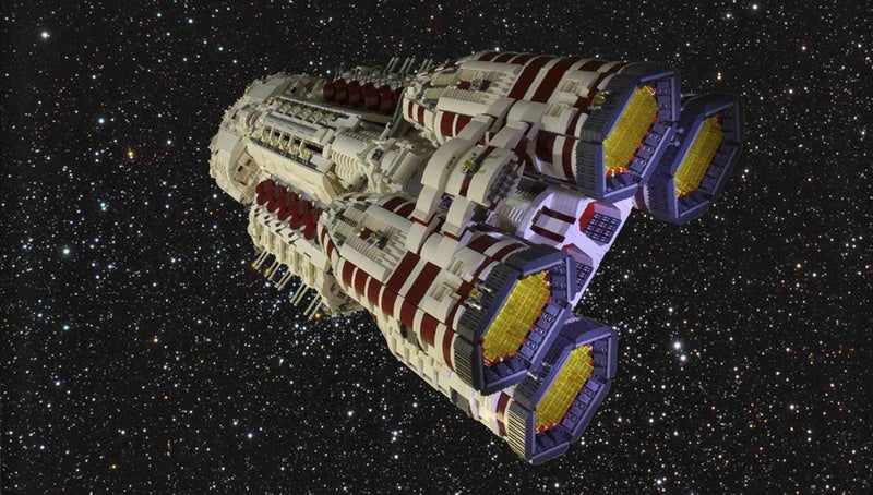 The ships of Battlestar Galactica, immortalized in thousands of LEGO bricks