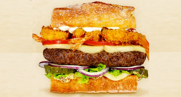 Gruyère Cheese, Beef Patty, Fried Shrimp, Creole Mustard, Lettuce ...