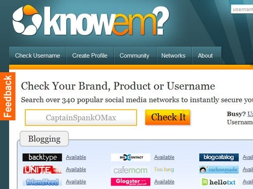 KnowEm Checks Username Availability Across 300+ Social Sites
