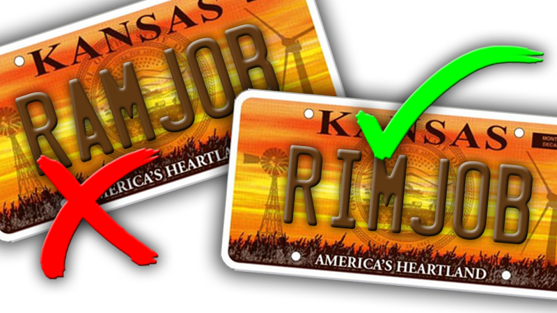The Kansas DMV Will Still Let You Get A RIMJOB And Other Banned License Plate Quirks
