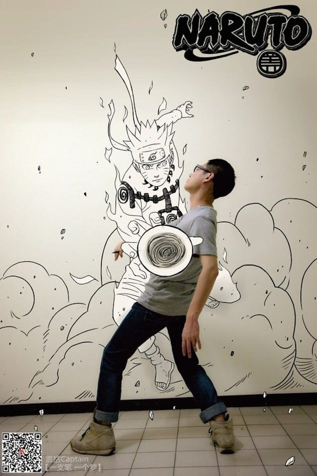 Chinese Artist Throws Himself Into Comics and Cartoons. Literally.