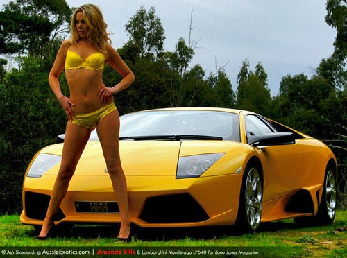 Step 1: Lambo LP640. Step 2: Lingerie Model. Step 3: Children's Charity?