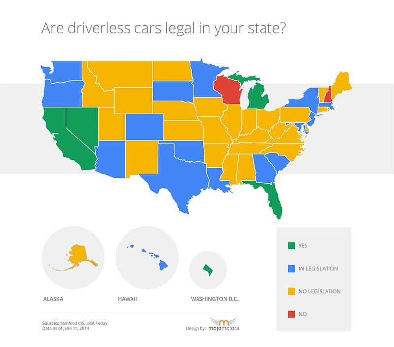Where are driverless cars even legal?