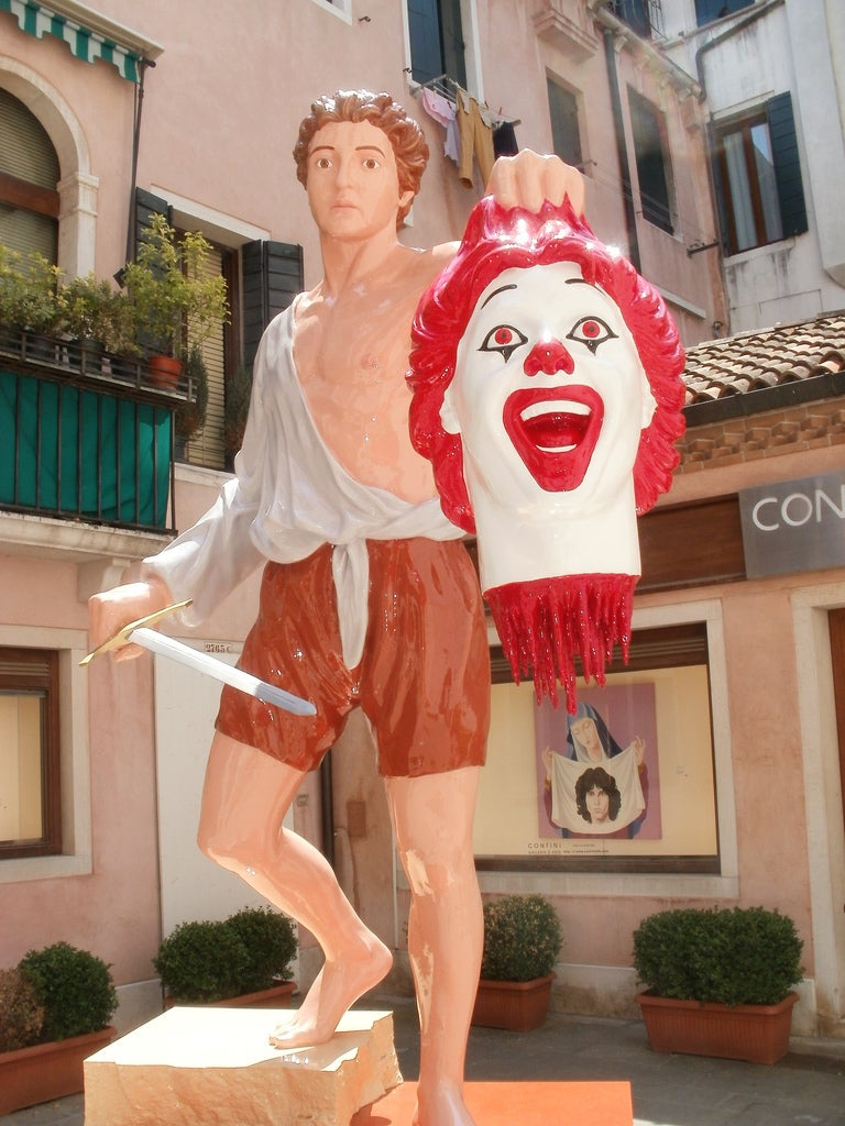 Italian artist transforms Ronald McDonald into the decapitated head of Medusa