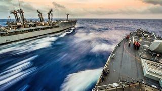 USS <i>Fitzgerald </i>Races Through The Water During Underway Replenishment