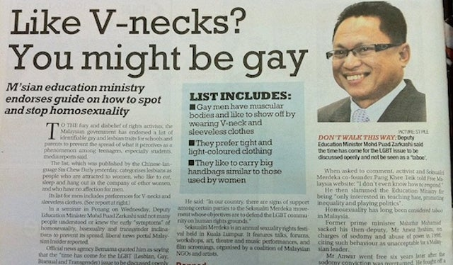 Malaysian Education Ministry Releases Hysterically Stereotypical Guidelines for Parents Looking to Detect 'Homosexual Symptoms' in Their Children