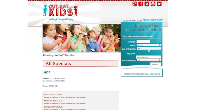 x201c;Out to Eat with Kidsx201d; Shows You Where and When Kids Eat Free