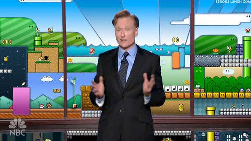 Conan And His Mario Backdrop May Leave Late Night