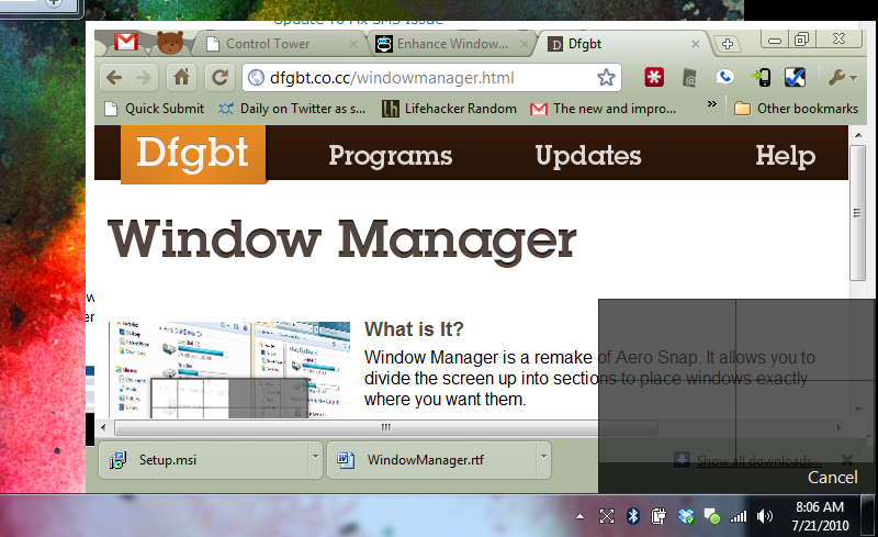 Window Manager Sizes and Moves Windows into Grid Formation