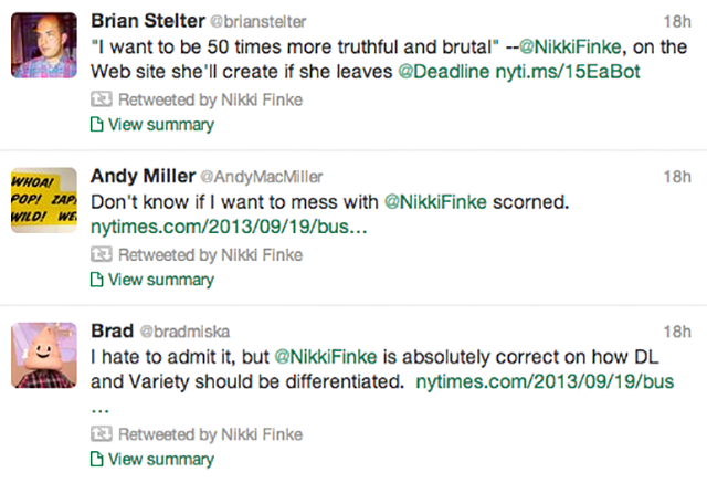 Nikki Finke Apparently Does Not Believe in Competition