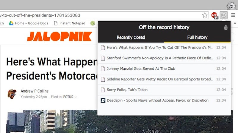 Off the Record History Temporarily Stores Incognito Browsing History Until You Close Chrome