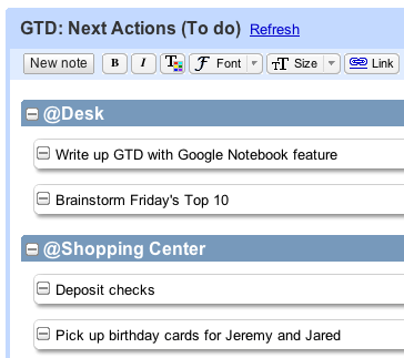 Getting Things Done with Google Notebook