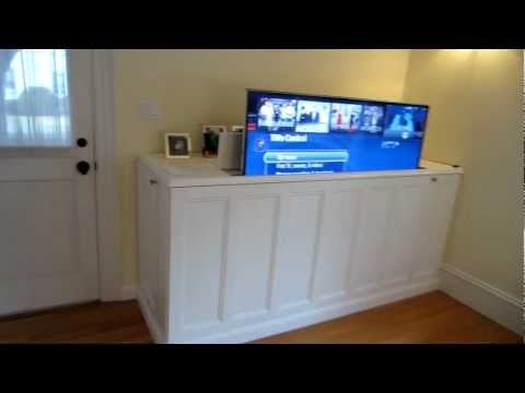 make a diy home theater tv lift cabinet. Black Bedroom Furniture Sets. Home Design Ideas