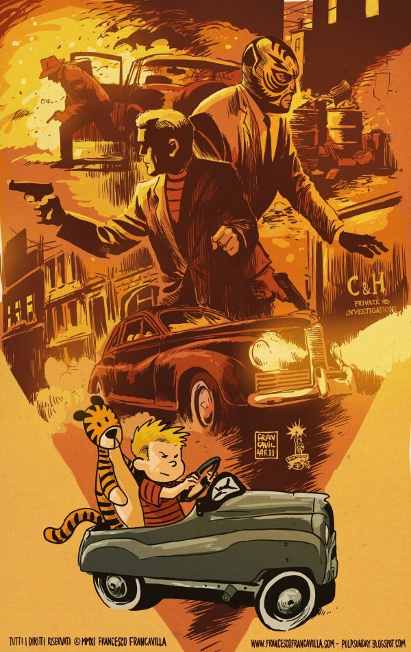 What if Calvin & Hobbes were rebooted as hardboiled pulp detectives?