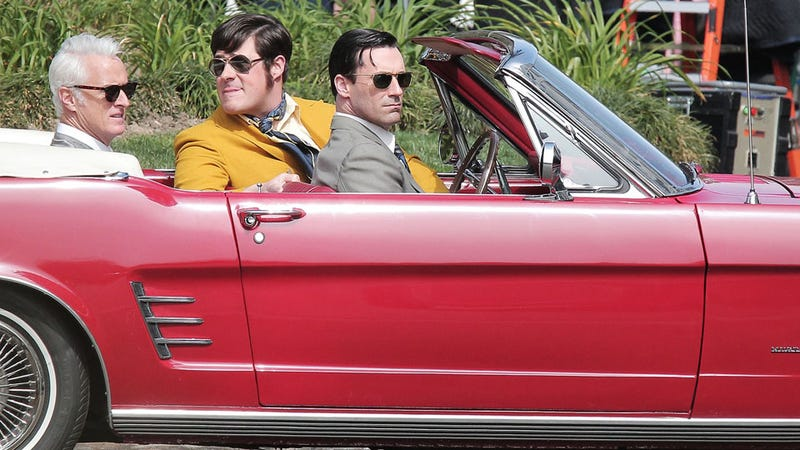 New Photos from the Mad Men Set Show Don, Roger, and Harry Cruising in a Mustang