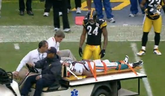Pat White Carted Off After Helmet-To-Helmet Hit (Update)